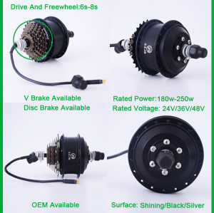 CZJB-75A small 36v 250w electric wheel hub motor