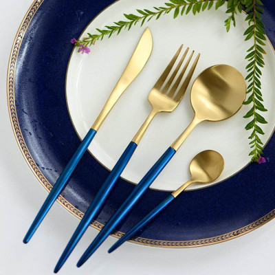 LEKOCH Stainless Steel Flatware Including Fork Spoons Knife Silverware Cutlery Set for 4 Piece Tableware (Blue+Golden)