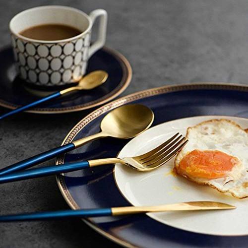 LEKOCH Stainless Steel Flatware Including Fork Spoons Knife Silverware Cutlery Set for 4 Piece Tableware (Blue+Golden)
