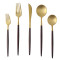 LEKOCH 5 PCS - Portugal Classical GOLD&BLACK Flatware