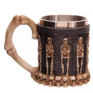 1Piece Resin Striking Warrior Tankard Viking Skull Beer Mug 300-400ML Double Wall 3D Coffee Tea Cups Halloween Christmas Gift
