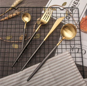 LEKOCH 4 PCS 18/10 Stainless Steel Flatware Set Portugal Classical GOLD&BLACK