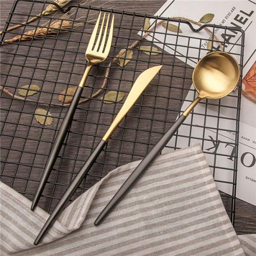 LEKOCH 4 PCS 18/10 Stainless Steel Flatware Set Portugal Classical GOLD&BLACK