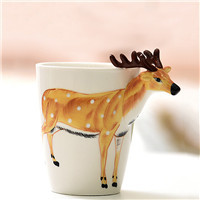 3D hand-painted ceramic mug Lekoch Personality Mug pure hand-painted animal cup cartoon cup painted coffee cup Christmas Gift
