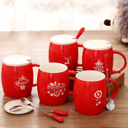 Christmas Mug Smteapot Creative Red 3D Animal Ceramic Mug 400ml Cartoon Couple Coffee Milk Tea Cup New Favors Water Cups