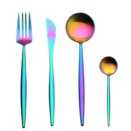 LEKOCH 4 PCS - Portugal Classical Rainbow Stainless Steel Flatware set