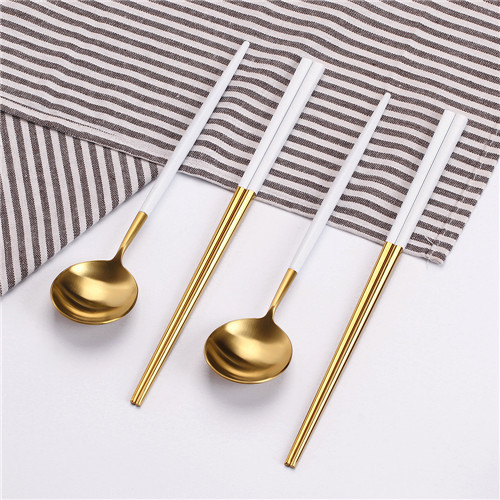 2set White and gold spoon with chopstick