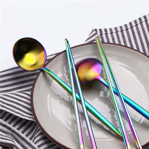 2set colorful spoon with chopstick