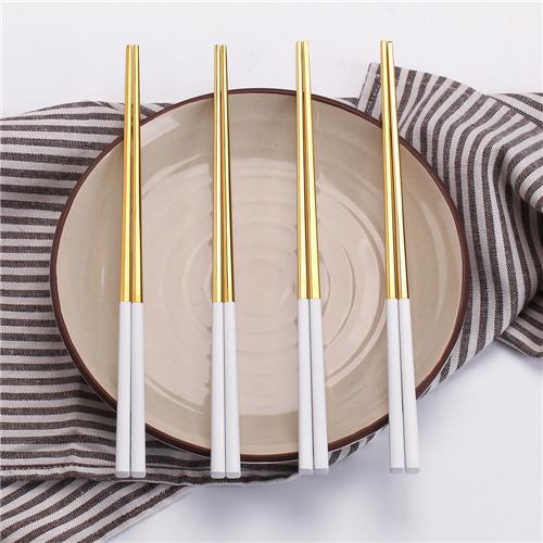 5pair gold and white chopsticks set Korean Household Metal square chopsticks Food grade top Chinese tableware Flatware