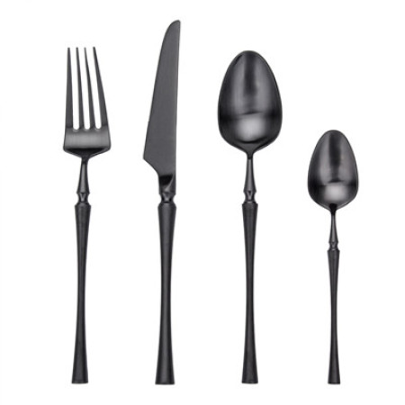 4pcs Azure Dragon Black Cutlery Set