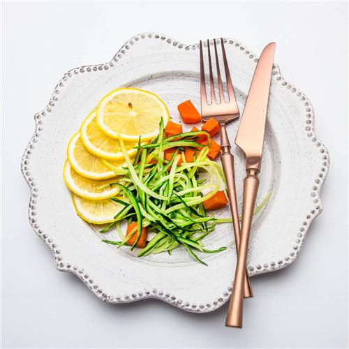4pcs Azure Dragon Rose Gold Cutlery Set