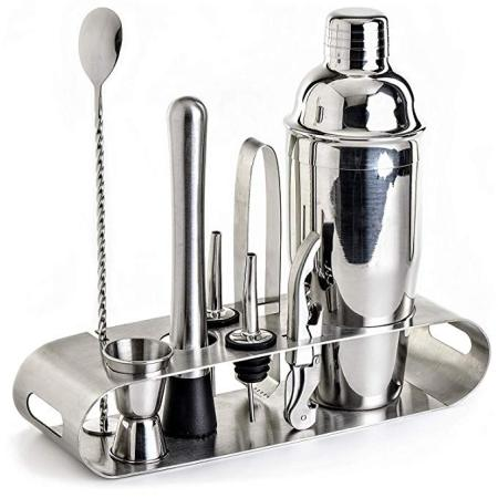 9-Piece Cocktail Shaker Set with Stylish Stainless steel Stand - Perfect Home Bartender Kit and Bar Tool Set