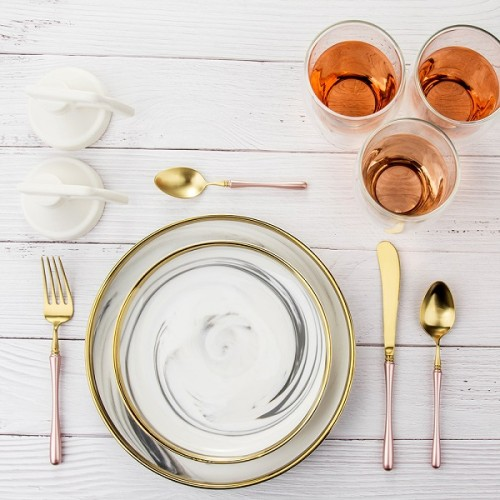 4pcs Luxurious Series Pink gold Cutlery
