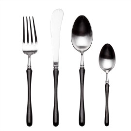 4pcs Luxurious Series black silver Cutlery