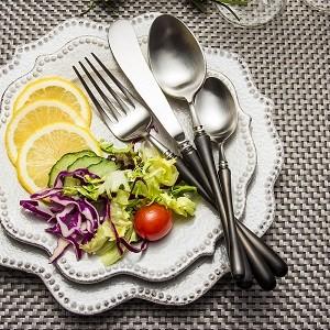 4pcs Luxurious Series black silver Cutlery