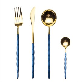 4pcs Luxurious Series Blue gold Cutlery