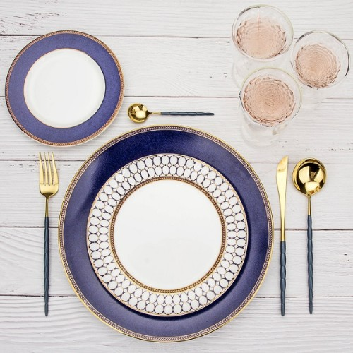 4pcs Luxurious Series Blue gold Cutlery