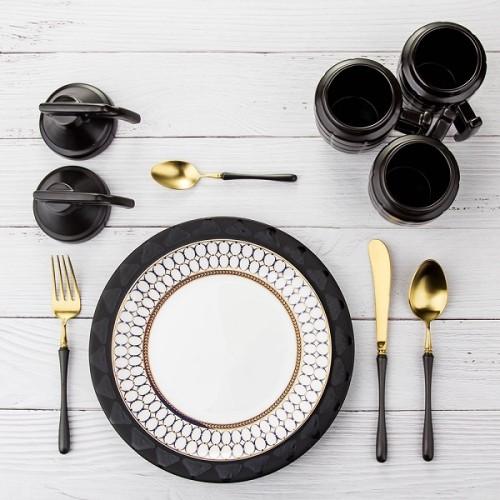 4pcs Luxurious Series black gold Cutlery