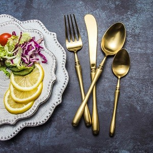 4pcs Luxurious Series Pure gold Cutlery