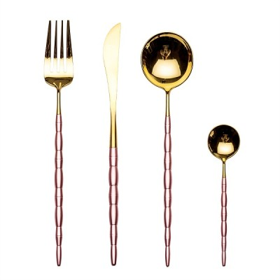 4pcs Luxurious pink gold Cutlery