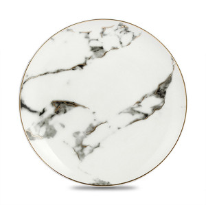 Lekoch 8 inch 4Pcs Marble Pattern Porcelain Ceramic Dinnerware Set Dessert Plate Steak Dish