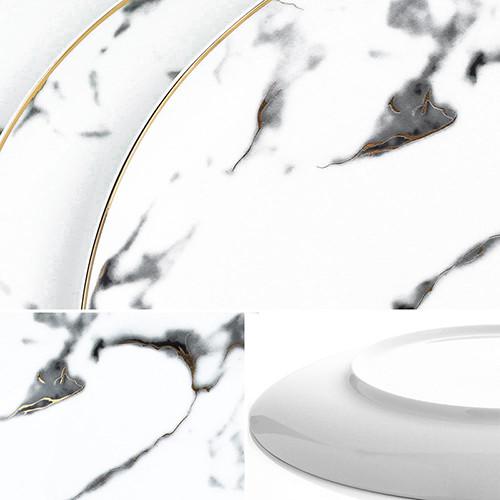 Lekoch 8 inch 4Pcs Marble Pattern Porcelain Ceramic Dinnerware Set Dessert Plate Steak Dish