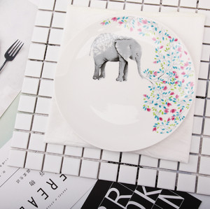 Lekoch 1pc 8inch Cartoon Elephant Dinner Plate Ceramic Dinnerware Fruit Tray