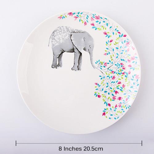 Lekoch 1pc 8inch Cartoon Elephant Dinner Plate Ceramic Dinnerware Fruit Tray