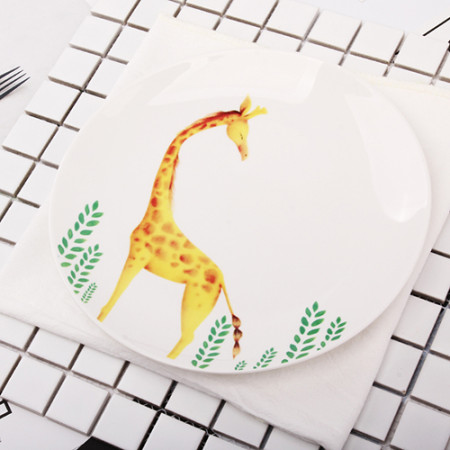 Lekoch 1pc 8inch Cartoon Giraffe Dinner Plate Ceramic Dinnerware Fruit Tray