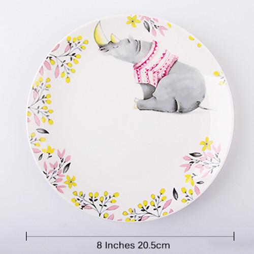 Lekoch 1pc 8inch Cartoon Rhino Dinner Plate Ceramic Dinnerware Fruit Tray
