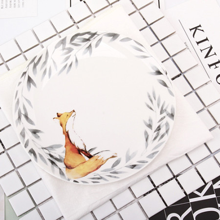 Lekoch 1pc 8inch Cartoon Fox Dinner Plate Ceramic Dinnerware Fruit Tray