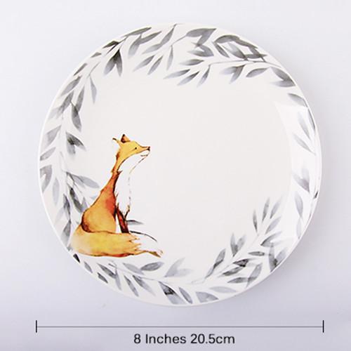 Lekoch 1pc 8inch Cartoon Fox Dinner Plate Ceramic Dinnerware Fruit Tray
