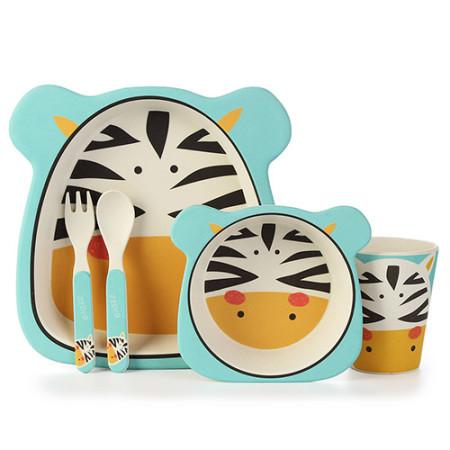Lekoch Eco Friendly Bamboo Fiber Baby Dinnerware Set Cartoon Feeding Toddler Tableware