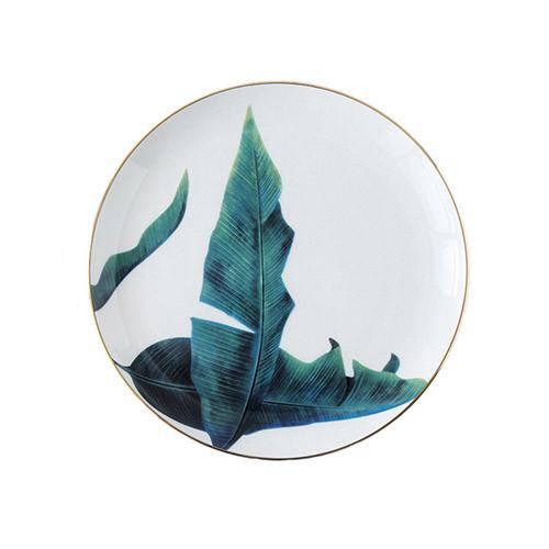 Lekoch Ceramic Plate Handcraft Leaf Gold Inlay Porcelain Dinner Plate Dinnerware--Leaf D