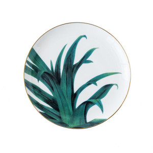 Lekoch Ceramic Plate Handcraft Leaf Gold Inlay Porcelain Dinner Plate Dinnerware 8inch