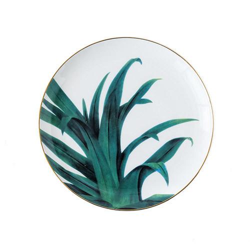 Lekoch Ceramic Plate Handcraft Leaf Gold Inlay Porcelain Dinner Plate Dinnerware --Leaf A