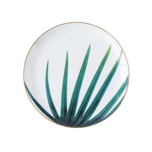 Lekoch Ceramic Plate Handcraft Leaf Gold Inlay Porcelain Dinner Plate Dinnerware --Leaf C