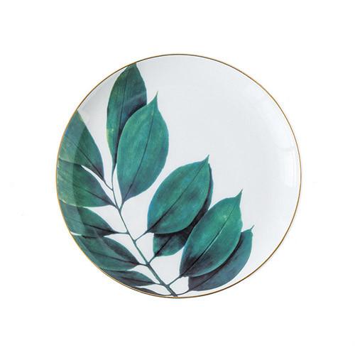 Lekoch Ceramic Plate Handcraft Leaf Gold Inlay Porcelain Dinner Plate Dinnerware--Leaf B