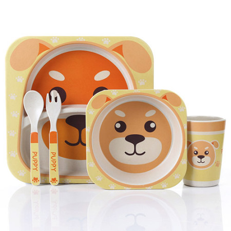 Lekoch Bamboo Fiber Baby Dinnerware Set Cartoon kids Feeding Toddler Tableware 5 PCS