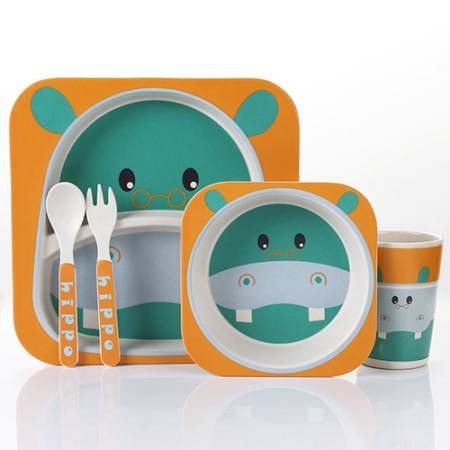 Lekoch Bamboo Fiber Baby Dinnerware Set Cartoon kids Feeding Toddler Tableware 5 PCS