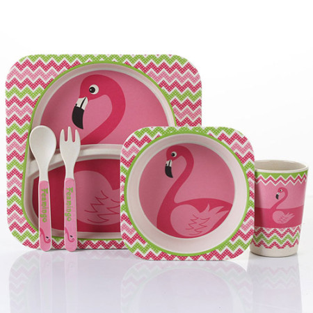 Lekoch Bamboo Baby Plates Dinnerware Set Cartoon kids Feeding Toddler Tableware 5 PCS