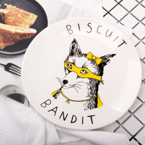 Lekoch 8inch Fox Animals Ceramic Cake Plate Biscuit Dish Ceramic Dinnerware