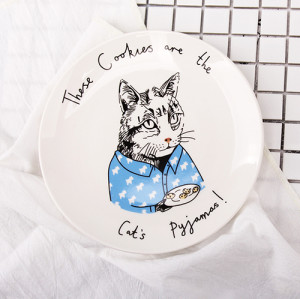 Lekoch 8inch Cat Animals Ceramic Cake Plate Biscuit Dish Ceramic Dinnerware