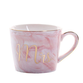 Lekoch Pink Ceramic Couple Mug With Handgrip