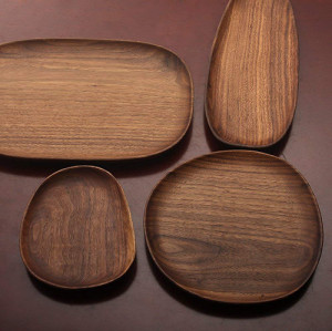 Lekoch 4pcs Black Walnut Wooden Dessert Plates Irregular Afternoon Tea Tableware Set