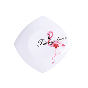 Lekoch 9.5 inch Ceramic Plates Elegent Flamingo Design Dinner Dessert Food Dishes