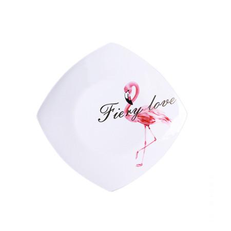 Lekoch 9,5 Zoll Keramikplatten Elegent Flamingo Design Abendessen Dessert Speisen