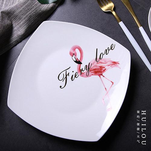 Lekoch 9.5 inch Ceramic Plates Elegent Flamingo Design Dinner Dessert Food Dishes