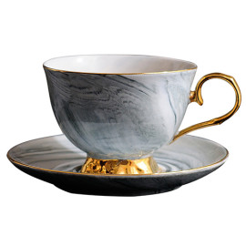 Lekoch Marble Design Coffee Cup Saucer Set Bone China Cup Tea Cup