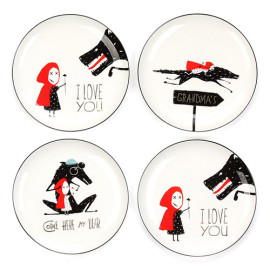 Lekoch 4pcs ceramic Little Red Hat Dinner Plate Tableware Set